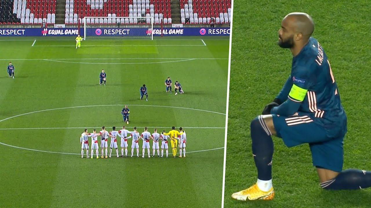 Lacazette takes the knee in front of Slavia Prague, as Arsenal players make statement against racism