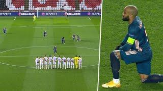 라카 제트가 슬라비아 프라하 앞에서 무릎을 꿇고 아스날 선수들이 인종 차별에 반대하는 성명을 발표합니다.