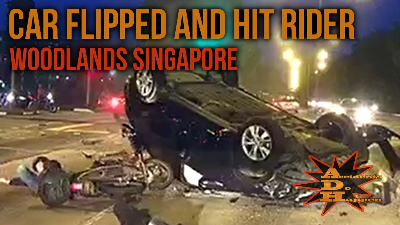 Car Flipped And Hit Rider At Woodlands Avenue Singapore Youtube