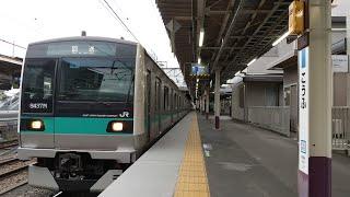 E233系2000番台マト8編成NN入場甲府駅発車シーン