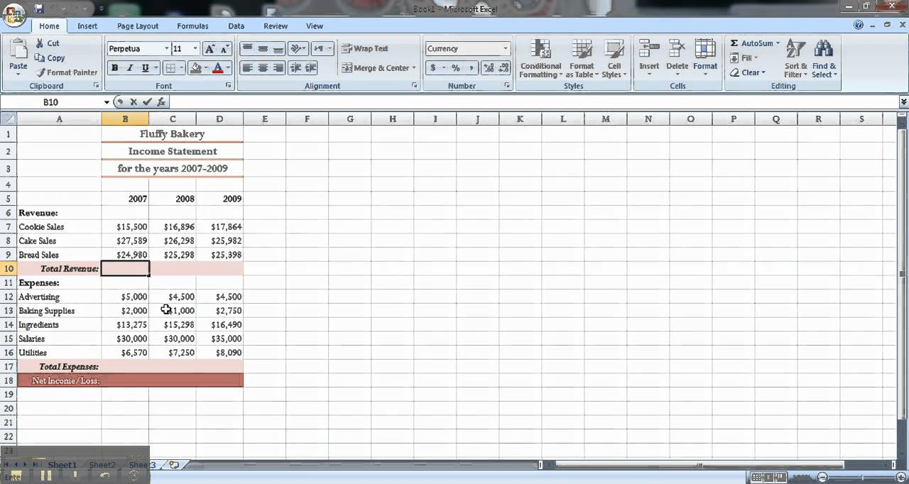 excel financial statements