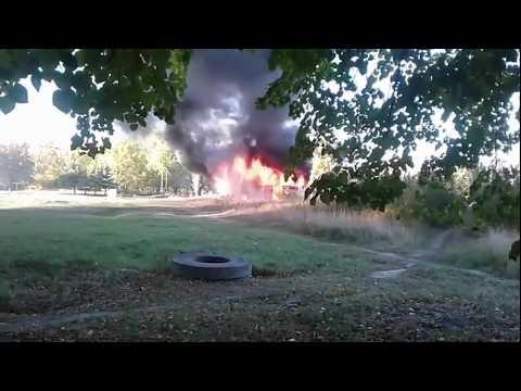 13.10.2018 В Торецке сгорел автобус Паз