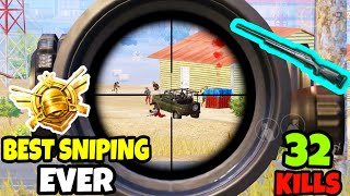 This Will be the BEST SNIPING Gameplay You will Ever see in PUBG Mobile •(32 KILLS)• PUBGM (HINDI)