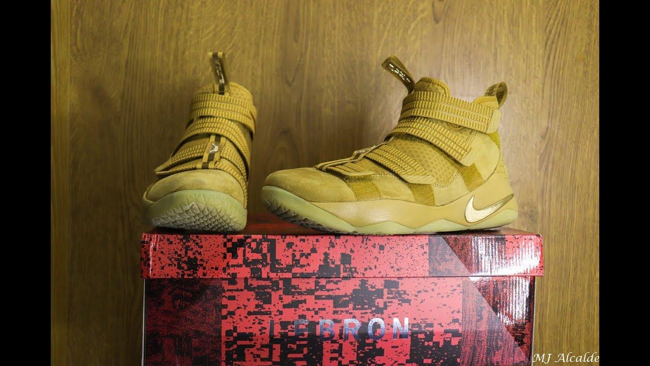03752e1db0f50 Nike Lebron Soldier XI (11) SFG EP Wheat Metallic Gold on Foot - YouTube