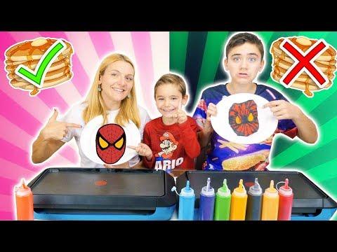 PANCAKE ART CHALLENGE 2 !!! - Mère VS Fils : Hamburger, Spiderman, Yoda, Cookie Monster ...