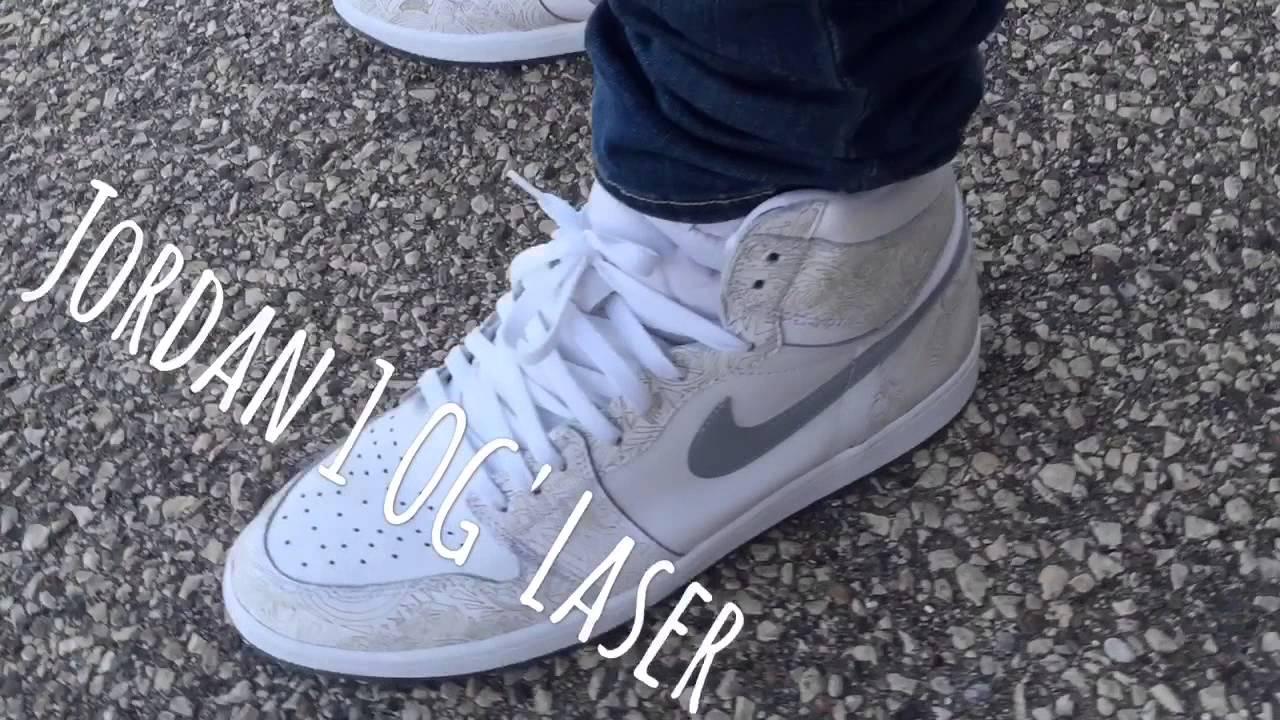 7dab6ebff654df Nike Air Jordan Retro 1 OG  LASER on FEET! - YouTube