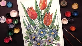 Speed Painting | Tulips and Violets | Technique Pointillism | Gouache | IOTN