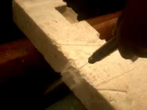 Testing Pure Waterjet cutting sterofoam