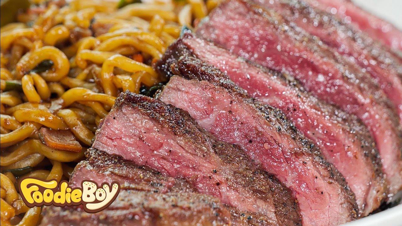 채끝 스테이크 짜파구리 / Sirloin Steak Jjapaguri - Korean Street Food / 부산 대연동 순옥식당