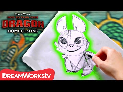 How to Draw a NightLight (Baby Dragon) | HOW TO TRAIN YOUR DRAGON - HOMECOMING