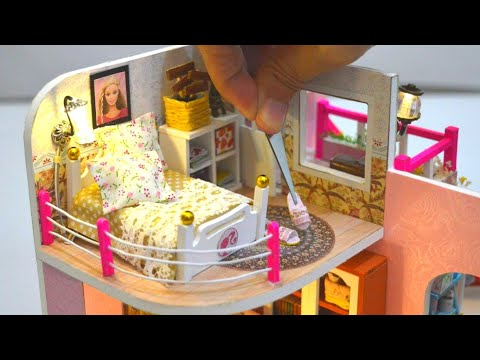 DIY MINIATURE DOLLHOUSE - BARBIE DREAM HOUSE BEDROOM DECOR with GOLF COURSE