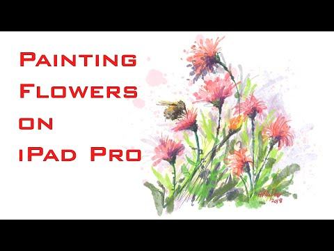 HOW TO PAINT FLOWERS IN CONCEPTS APP (Watercolor effect) - iPad Pro - Time lapse