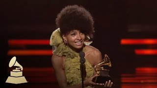 Esperanza Spalding accepting the GRAMMY for Best New Artist at the 53rd GRAMMY Awards | GRAMMYs