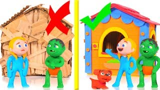 NEW PLAYHOUSE VS CARDBOARD OLD TOY HOUSE ❤ PLAY DOH CARTOONS FOR KIDS