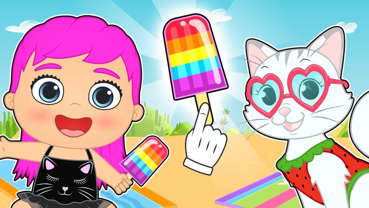LILY y KIRA 🍨🌈 Hacen helados de arcoíris en la playa