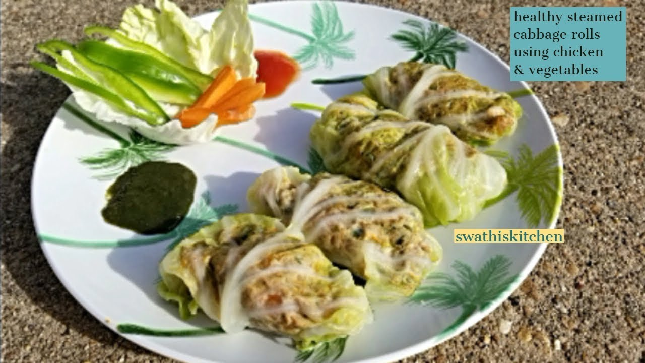 Cabbage Rolls No Fry Recipe Healthy Snack Starter Recipe Steamed Cabbage Rolls Youtube