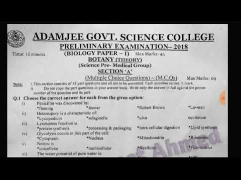 Prelium Paper of XI BOTANY Adamjee Science College 2018