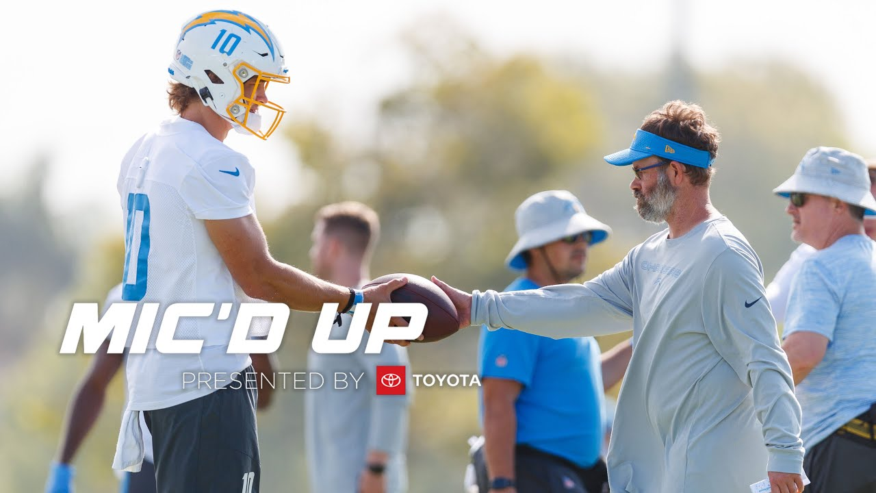 """Quarterbacks Coach Shane Day Mic'd Up at Chargers Training Camp 2021, """"Nice shot, 10!"""""""