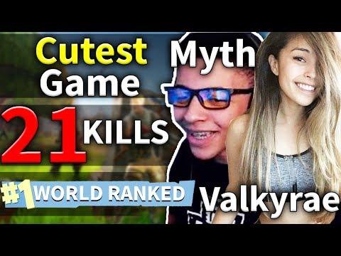 CUTEST GAME Myth & Valkyrae 21 Kills Duo Game #107 (Fortnite)