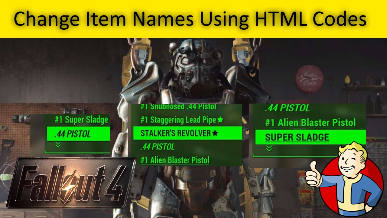 Fallout 4 Change Item Names Using HTML Codes