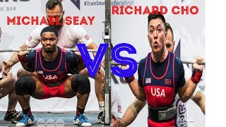 Michael Seay vs Richard Cho @ Men Jr, 74 kg IPF World Classic Powerlifting Championships 2019