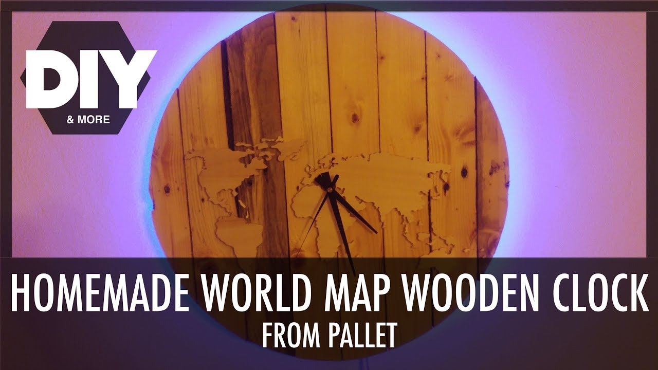 Diy world map wooden clock from pallet part 12 orologio mappa diy world map wooden clock from pallet part 12 orologio mappa mondo fai da te parte 12 gumiabroncs Choice Image