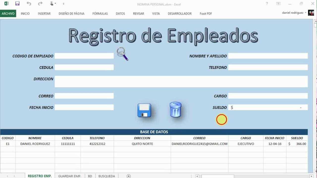 Pago de nomina en excel con registro de empleados youtube for Nomina en excel xls