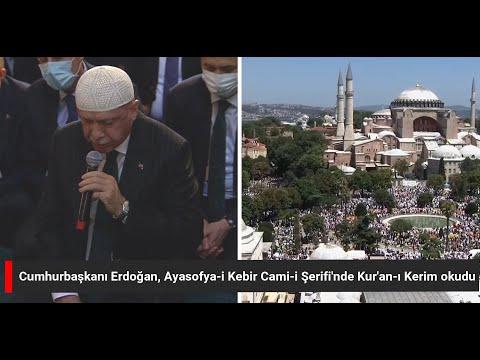 Turkish President Recep Tayyip Erdogan arrives at Hagia Sophia to attend Friday prayers