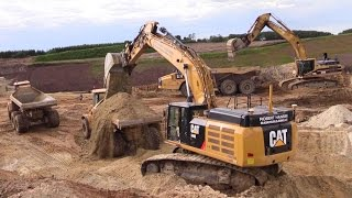 Cat 349E And Cat 345B Excavator Loading Volvo And Hydrema Dumpers