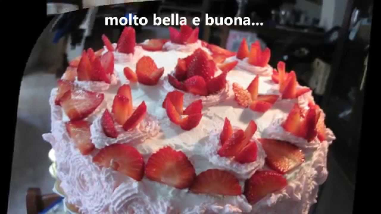 Torta con fragole e chantilly youtube for Decorazione di torte con fragole