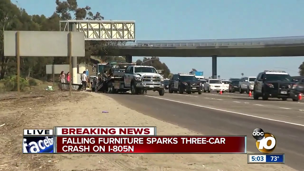 Falling furniture sparks three-car crash on I-805 North