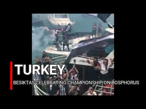 Besiktas celebrating on Bosphorus