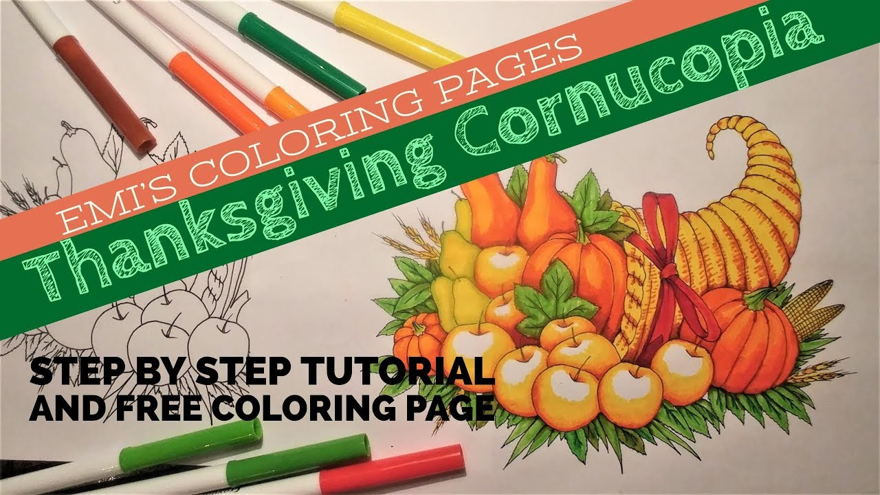 Thanksgiving Cornucopia Coloring page and Fun video - YouTube