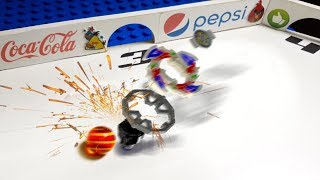 MARBLE RUN vs BEYBLADES - Epic Battle with BEYBALADES COLLISION - Marble Race - Carrera canica