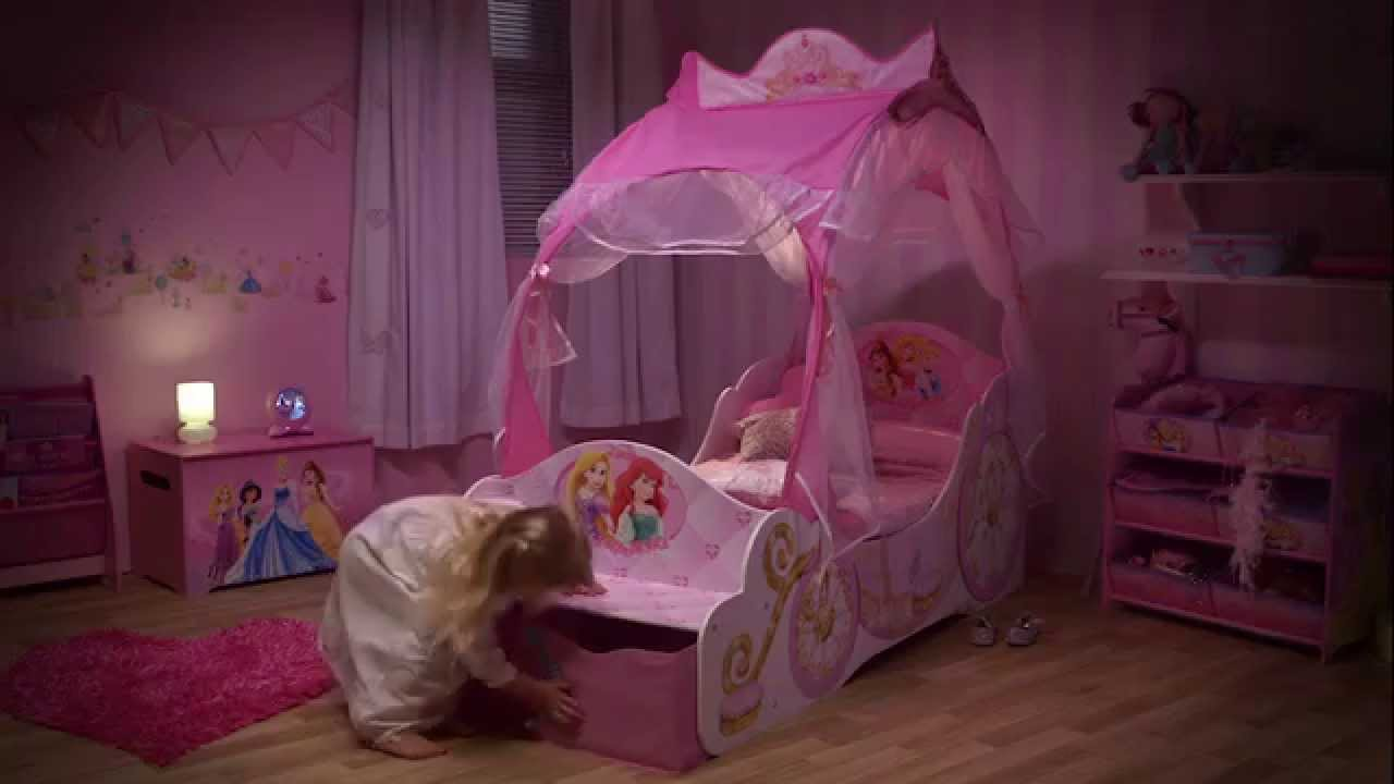 & Disney Princess Carriage Toddler Bed with Storage Opener - YouTube