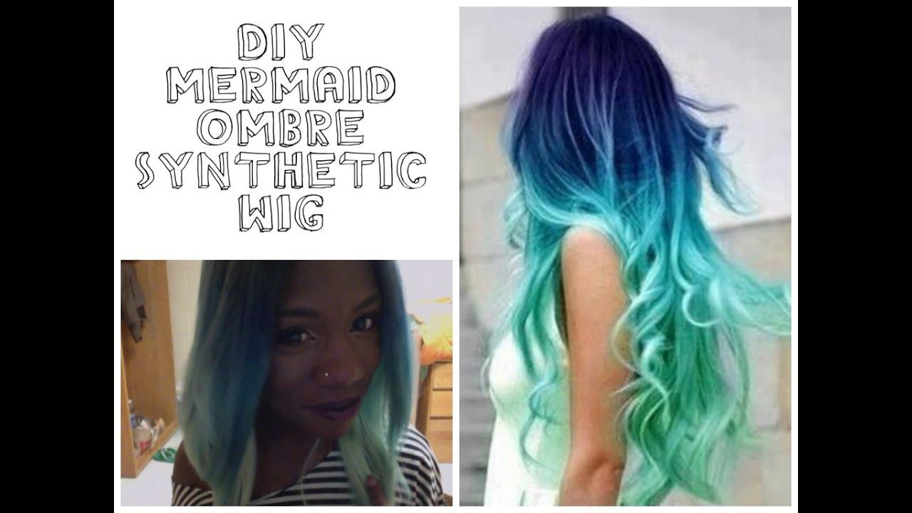 DIY| Mermaid Ombre Synthetic Wig - YouTube