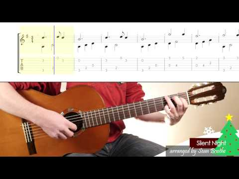 'Silent Night' - easy guitar arrangement with score and TAB