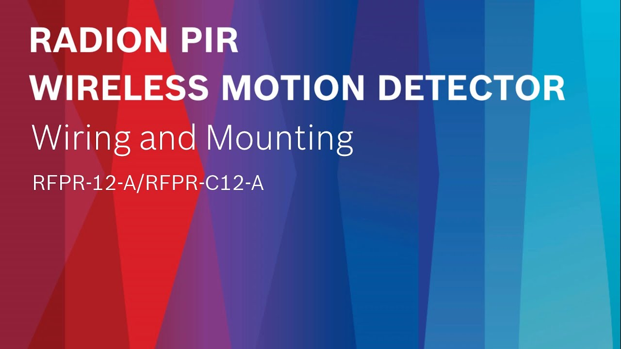 Bosch Security Radion Pir Wireless Motion Detector Wiring And Alarm Instructions Mounting Rfpr 12 A C12