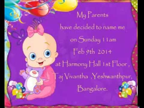 Birthday invitation youtube for Baby namkaran decoration
