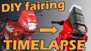 DIY Custom motorcycle fairing timelapse Honda NX 650 Dominator