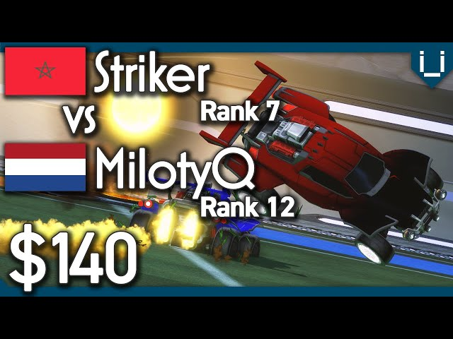 Striker (Rank 7) vs MilotyQ (Rank 12) | $140 Rocket League 1v1