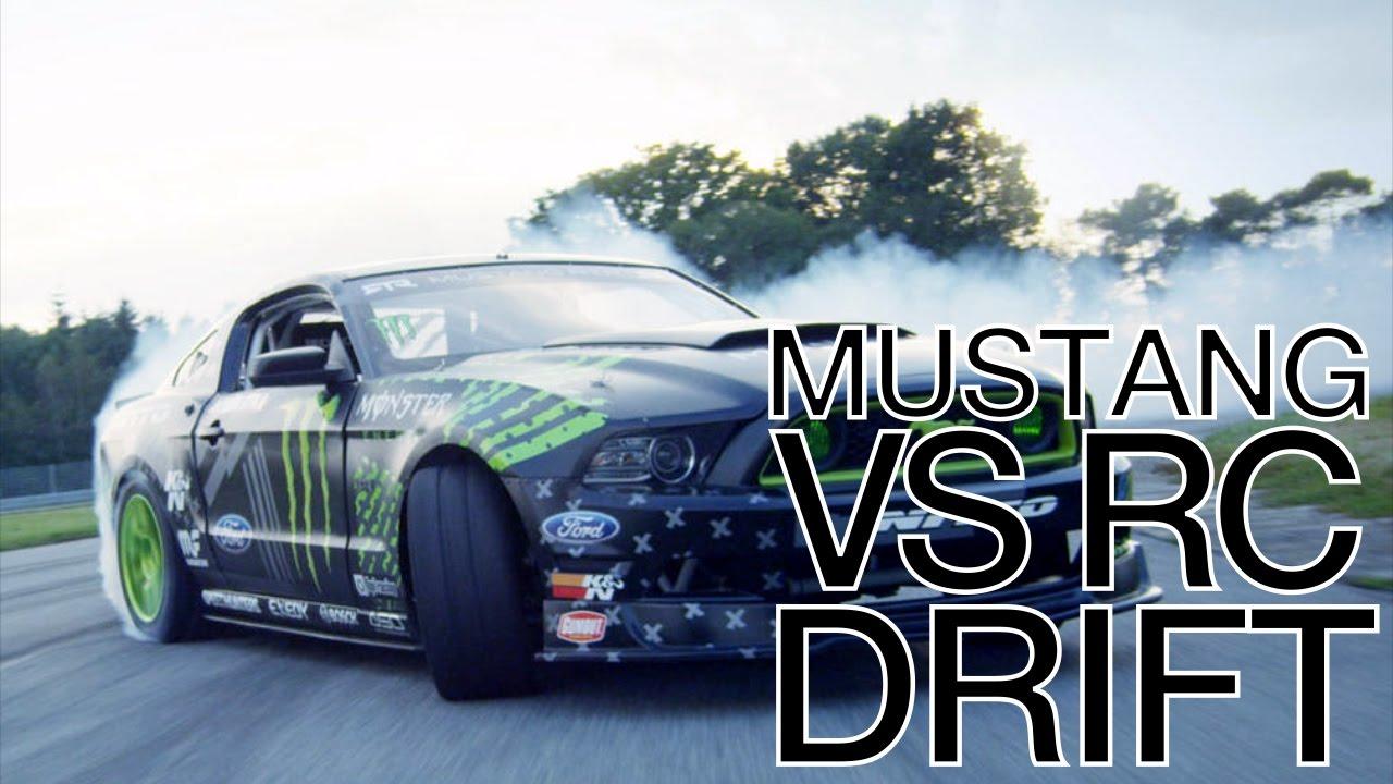 Mustang Gt Vs Rc Drift Car Battle Youtube