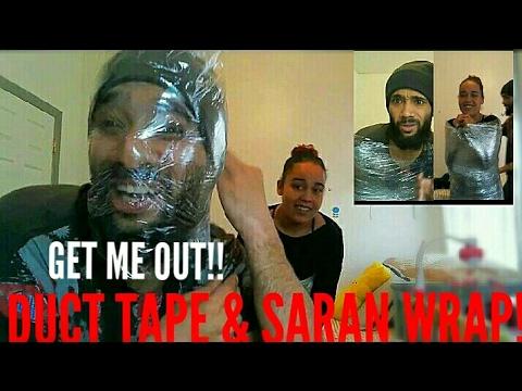 DUCT TAPE & SARAN WRAP CHALLENGE!! (HILARIOUS) | PT. 1