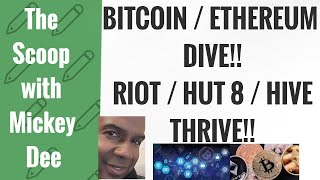 Bitcoin (BTC) and Ethereum (ETH) fake out! HIVE (HVBTF / HIVE) HUT 8 (HUTMF/ HUT) RIOT - The Scoop