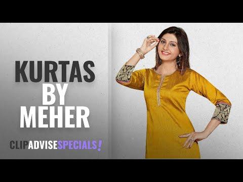 Top 10 Meher Kurtas [2018]: Meher Impex Cotton Silk Gold color Kurta