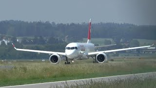 Swiss Airbus A220-300 beautiful takeoff at Zurich Airport