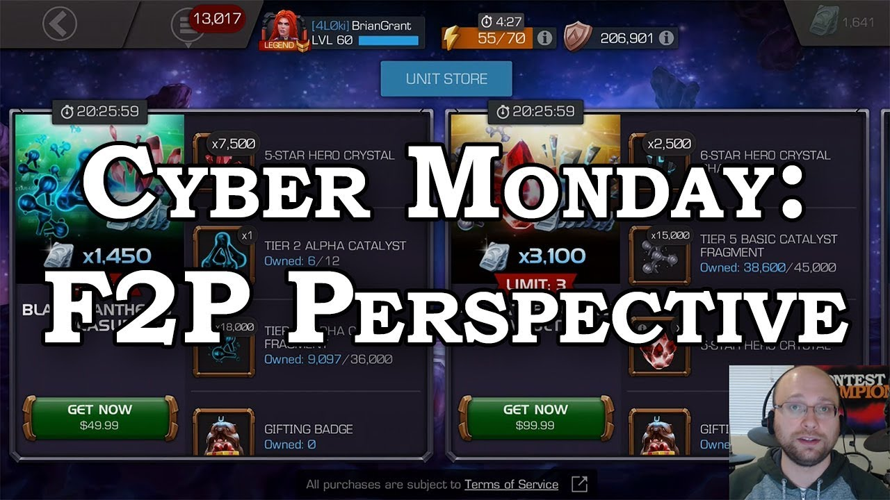 Cyber Monday 2018 F2p Perspective Marvel Contest Of Champions Youtube