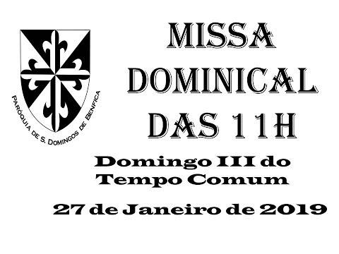 Missa Dominical das 11h - 27 de Janeiro de 2019