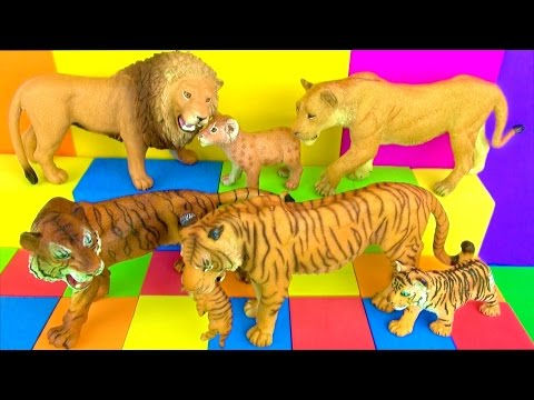 Big Cat Week 2017 - Happy Cute ZOO Animals Wildlife LION TIGER LEOPARD CHEETAH BIG CATS Toy Review