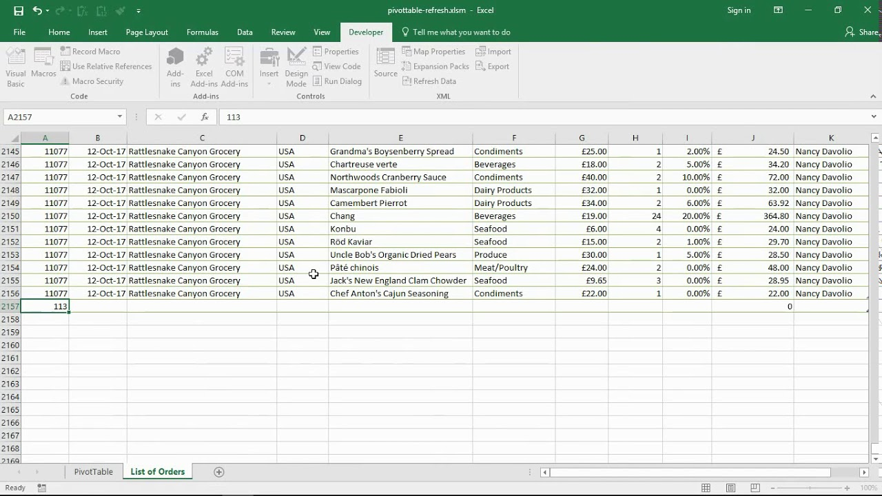 Automatically Refresh PivotTable - Excel VBA